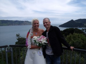 Anita and Carl Simons at Huia Point Lookout