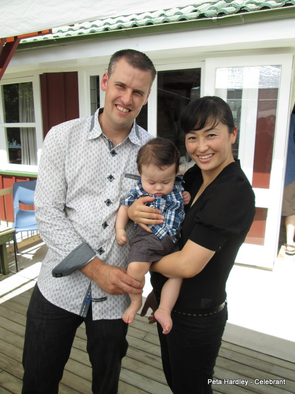 Bevan, Ashton & Miho on Ashton's Naming Day